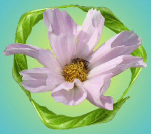 flower in recycle icon